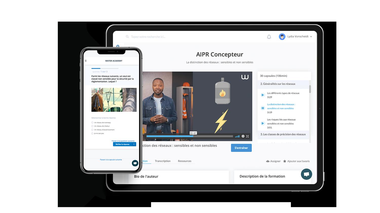 Mise en situation de la formation AIPR concepteur sur la plateforme d'apprentissage en ligne Watura